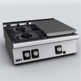Cuisinière gaz 2 feux et 1 plaque fonte droite FAGOR CG7-30