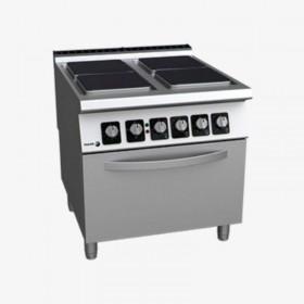 Cuisinière professionnelle électrique 4 plaques carrées et four FAGOR
