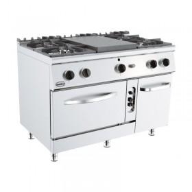 Piano de cuisson professionnel avec plaque coup de feu